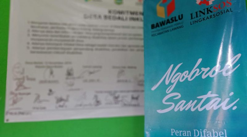 Pers Rilis: Ngobrol Santai Panwaslu Kecamatan Lawang dan LINKSOS, Peran Difabel dalam Pengawasan Partisipatif Pilbup Malang 2020